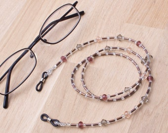 Eyeglasses chain - Faceted glass bead naturals glasses chain | Spectacle cord | Eye glasses holder | Eyewear accessories