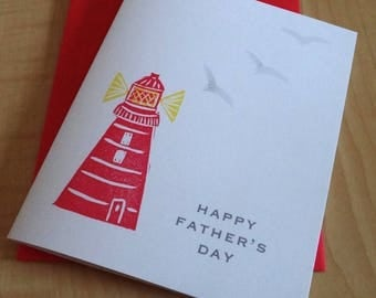 Lighthouse Father's Day Card - Nautical Father's Day Card - Happy Father's Day Cards - Hand Printed Greeting Card