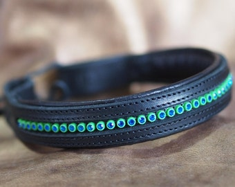 Color Bling & Black Leather Straight Show or Dressage Brow Band
