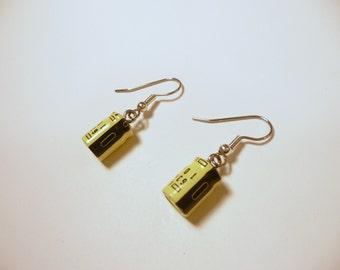 Geek Earrings, Recycled Electrolytic Capacitors, Yellow and Black, Techie Earrings, Geek Sheek Jewelry