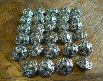 Vintage Silver plastic Buttons (set of 29)