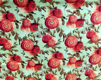 Four Dollar Cotton Fabric Destash! Wilmington Prints Orange/Red Roses on Green