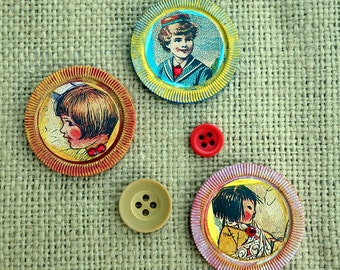 Children Boy and Girl Vintage Poker Chip Magnets  Altered Art Collage Art Recycled Repurposed Upcycled One of a Kind Refrigerator Magnets