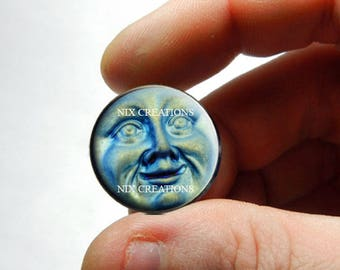 Iridescent Moon Face 25mm 20mm 16mm 12mm 10mm or 8mm Glass Cabochon  - for Jewelry and Pendant Making