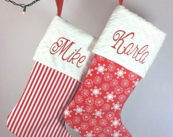 Christmas Wedding Gift, His and Hers Christmas Stockings, Couples Christmas Gift, Newlywed Gift, Our First Christmas, Monogrammed Stockings