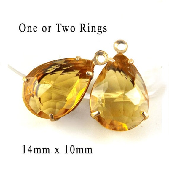 golden topaz sheer glass teardrops