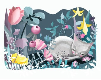 Cat art Print - Illustration drawing cats flowers cat nursery art  A4 / A3 / A5 / 8 x 10 giclee print