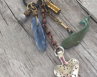 WHALE Totem Spirit Animal Necklace with KYANITE gemstone, Silver HEART, Gold Hematite, Antique Brass chain