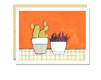 Cactus and Spiky Houseplant Notecard // Single Card // Everyday Card // Blank Notecard // Cute Card // NW Artist // Rachel Austin Card