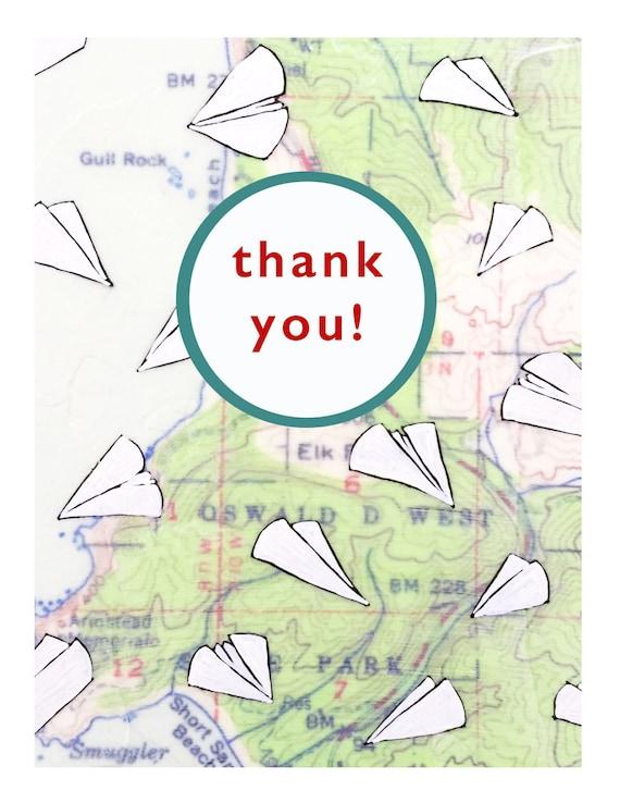 NEW // Paper Airplane Thank You Card // Cute Thank You Card // Map Card // Rachel Austin Art