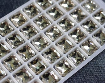 12x12mm Clear Square Octagon Glass Jewels - 6pcs - Clear Crystal Glass Rhinestone, 12mm Square Octagon, Silver Foiled, Faceted Glass Jewel
