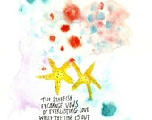 Two Starfish, watercolor on paper, original painting, Love among the rocks
