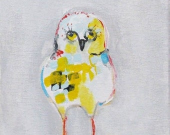 Baby Owl, Owlet, acrylic painting on wrapped canvas, original painting