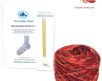 Sock Knitting Kit With Yarn, Colorway, Maine Lobstah, Needles and Instructions Included
