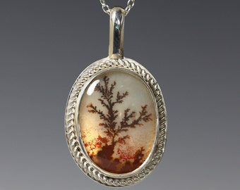 Dendritic Agate Pendant. Sterling Silver Necklace. Natural Gemstone. Tree Pattern. Autumn Colors. One of a Kind. Oval Pendant. f16p009