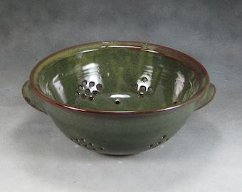Green Medium Colander or Berry Bowl Handthrown Stoneware Pottery 2