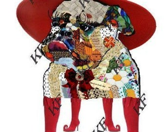 Bulldog in Red Hat - Pop Art Dog - 5x7 - Instant Download