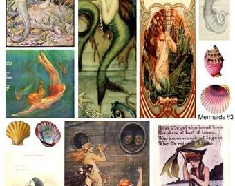 Mermaids No. 3 - Digital Collage Sheet - Instant Download