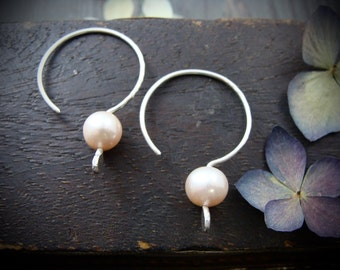 blush ... pink pearl hoops