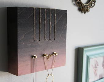 PERCH jewelry organizer no1 - wall jewelry display necklace holder wood modern hanger contemporary brass gold storage - Black+Pink gradient