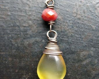 Honey Yellow Opal Briolette and Ruby Pendant in Antiqued Sterling Silver - 33mm in length