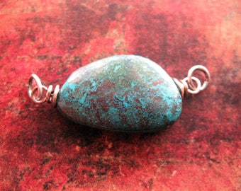 Shattuckite Pendant Connector in Antiqued Sterling Silver - 1 piece - 38mm in length