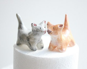 Clay Cats - Wedding Cake Topper - Clay Cake Topper - Clay Cats - Cat Cake Topper - Custom Cake Topper - Custom Clay Cats
