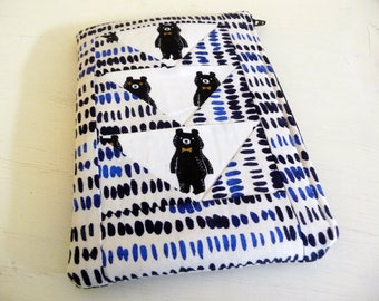 Patchwork Bears Kindle Paperwhite Case, Kindle Touch Sleeve, Foam Padded, Flying Geese, Zippered Closure