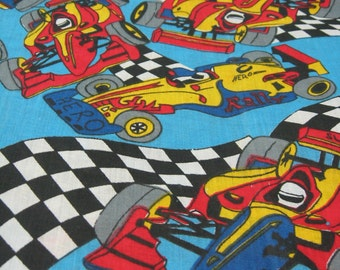 """Vintage 1970's Fabric, Vintage Race Car Fabric, Boy's Vintage Fabric, 44"""" X 3 Yards, Boy's Bedroom Decor, Boy's Quilt Fabric Quilting Fabric"""