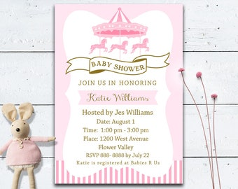 50% off Carousel Baby Shower invitation Custom DIY printable invite, Pink and Gold, Digital