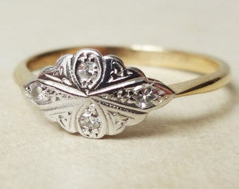 Art Deco Floral Diamond Ring, 9k Gold, Platinum and Diamond Engagement Ring Approx. Size US 7.25 / 7.5