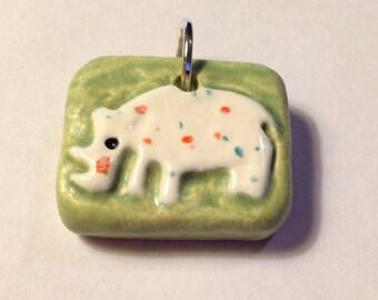 Rhino Ceramic Art Pendant