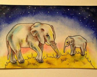After the Crossing Elephants Original Painting