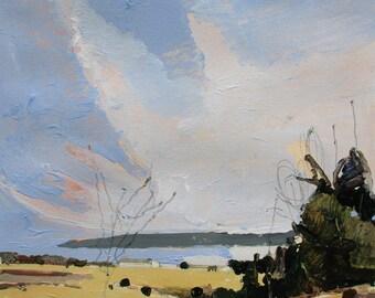 Low Slung, Original Spring Landscape Painting on Paper, Stooshinoff