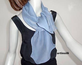 Gunmetal Gray Blue Silk Chiffon Scarf Petite Ponytail Scarf, or Cobalt Sapphire Blue Medium Blue Small Neck Scarf Hair Scarf, Artinsilk.