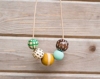 ON SALE SHIPS Today Hand Painted Wooden Bead Necklace in Rosemary & Thyme,  Anna Joyce, Portland, Or.