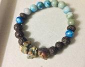 RESERVED - Earthy Gemstone Energy Healing Bracelet Essential Oil Diffuser Blue Jasper and Lava Stone