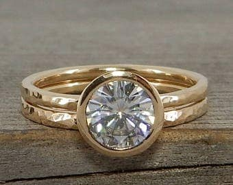 Moissanite Engagement Ring and Wedding Band, Forever One GHI, in Recycled 14k Yellow Gold, Polished, Hammered, Bezel Setting, Made to Order
