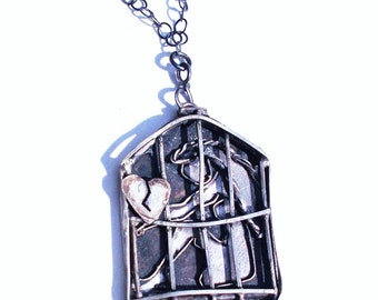 Broken Heart Stuck in a Cage, Sterling Pendent, Sterling silver jewelry, artisan jewelry, Handmade Jewelry, Statement Jewelry