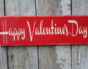 Primitive Wood Sign Happy Valentine's Day Cabin Rustic Boho She Cave Red For her Home Decor Holiday Decor Wood Sign Valentine Gift Love