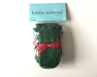 Kitten Mittens - Special Christmas Edition! With red ribbon and gold trim
