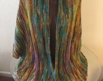 Beautiful Hand Knitted. Spring Shawl made with Handdyed Superwash Merino Treadsoft and Kona  85 x 38 Inches
