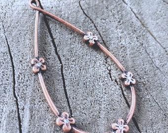 Copper Crystal Flower Hoops - DIY JEWELRY