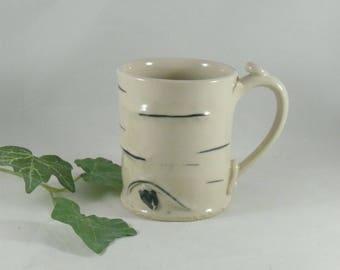 Aspen Tree Teacup, Ceramic Coffee Mug, Gift for Him, Pottery Mug, Pottery Cup, Tea cup, Unique Coffee Mugs, Birch Tree Art, White Latte Mug