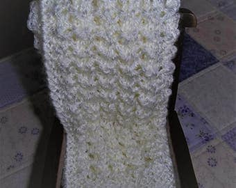 Knit Blanket, Doll Blanket, Antique White Blanket, Creamy White Blanket, Childs' Comfort and Security Blanket, Small Doll Correctors