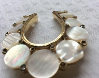Vintage mother of pearl Horseshoe brooch