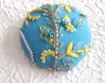 Blue yellow beaded embroidered  fabric covered button, size 100 button, 2.5 inches, 6.35 cm, 63.5mm