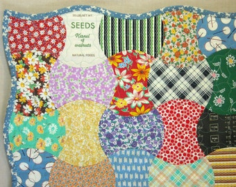Baby Crib Quilt -  Feed Sack Apple Core Quilt -  Vintage Look Scrap Quilt - Large Quilted Table Topper