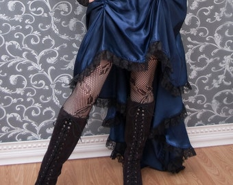 My Faire Lady - Navy Blue Steampunk Bustle Skirt High Low Long Short - Ready to Ship