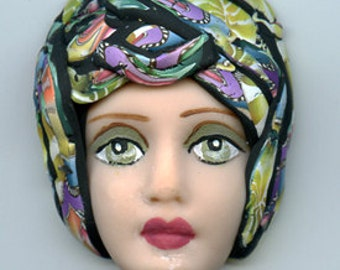 Polymer Clay One of a Kind   Detailed  Art Doll Face with hat Cab  FH 11